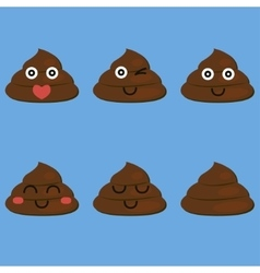 set of cut poop vector image