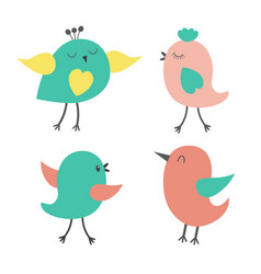 set of cute colorful birds vector image