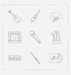 Set of music icons line style symbols with cello vector
