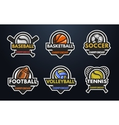 set sports logos vector image