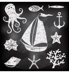 Silhouette Sea - Hand drawn set of sea symbols vector