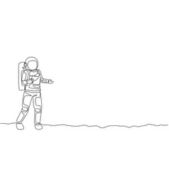 Single continuous line drawing astronaut in moon vector