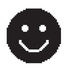 Smile icon happy face symbol pixel art vector
