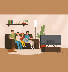 smiling mother father and children sitting on vector image
