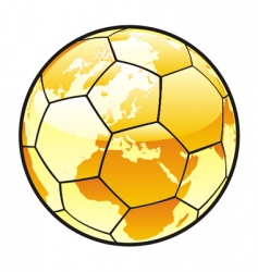 soccer ball with world map vector image