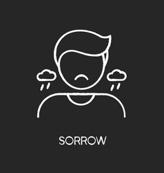 Sorrow chalk white icon on black background vector