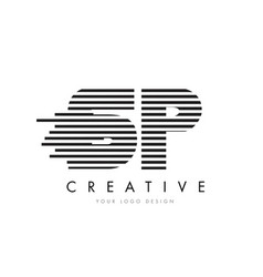 Sp s p zebra letter logo design with black and vector