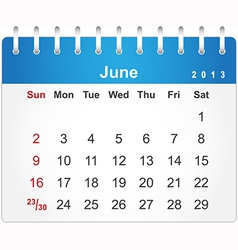 Stylish calendar page for June 2013 vector