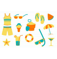 summer doodle with various objects related to vector image
