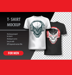 t-shirt template with skull in headphones vector image