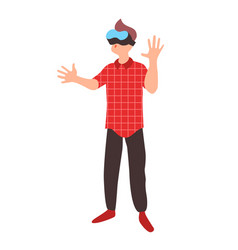 Teen learns in virtual reality glasses teenager vector