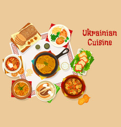 Ukrainian cuisine lunch dishes icon design vector
