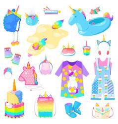 unicorn cartoon kids accessories vector image