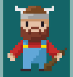 viking character with weapon and horned hat pixel vector image