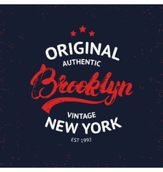 Vintage Brooklyn label Quality tee print vector image