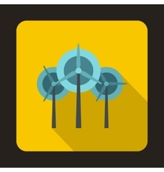 Wind generator turbines icon flat style vector image