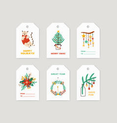 winter holiday tags set christmas labels vector image