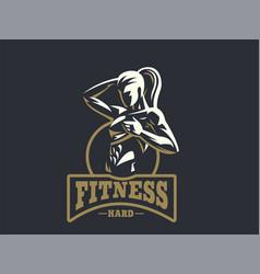 Woman fitness emblem vector