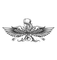 Woman with wings engraving vector