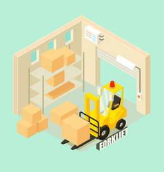 yellow forklift in warehouse concept background vector image