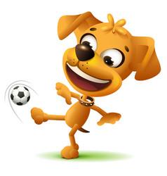 Yellow funny dog football player kicks soccer ball vector