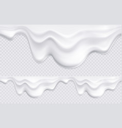 Yogurt drips borders seamless vector