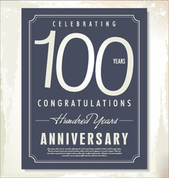 100 years anniversary background vector image vector image