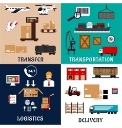 Freight transportation and logistics flat icons vector image vector image
