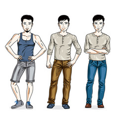 happy men posing in stylish casual clothes people vector image