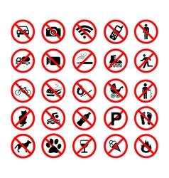 Set ban icons Prohibited symbols red circle signs vector image