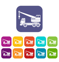 truck crane icons set flat vector image vector image