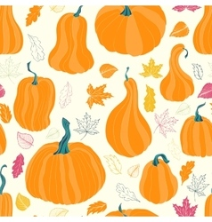 Autumn pumpkins and leaves vector image vector image