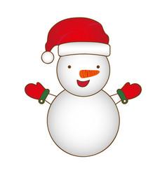 colorful silhouette cartoon snowman christmas vector image