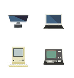 Flat icon computer set of computing pc notebook vector