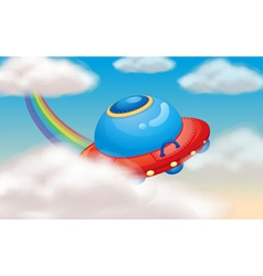 spaceship and rainbow vector image
