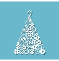 Christmas tree f gears vector image vector image