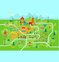 children playground in the park with people and vector image