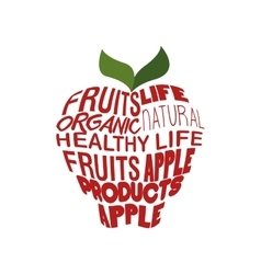 red apple shaped words vector image