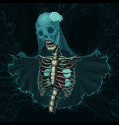 Skeleton with veil and white roses vector image