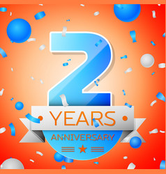 two years anniversary celebration vector image vector image