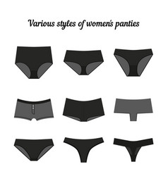 Various styles of women panties black vector