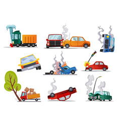 Accidents on road cars damaged road accident vector