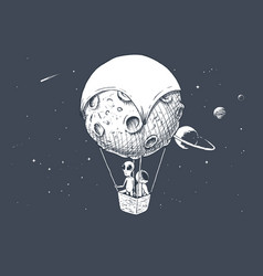 Alien and astronaut travels on aerostat vector