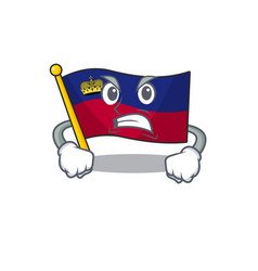 Angry flag liechtenstein folded above mascot table vector
