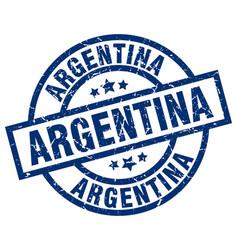 argentina blue round grunge stamp vector image
