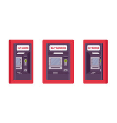 Atm built in a wall red color vector