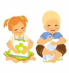 Babies with gift vector