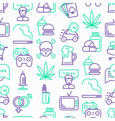 bad habits seamless pattern with thin line icons vector image