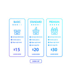 Banner for tariffs pricing tables and plans vector