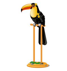beautiful bird toucan sitting on a wooden perch vector image